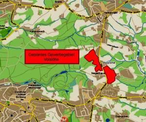 Lage des Gewerbegebietes zwischen Moitzfeld und Herkenrath
